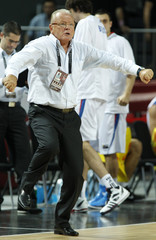 Serbia's head coach Ivkovic celebrates a basket during FIBA Basketball World Championship semi-final against Turkey in Istanbul