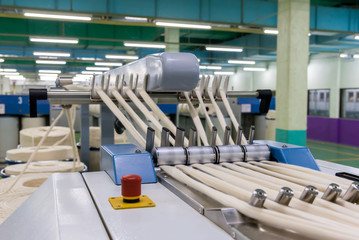 Industrial textile factory, Machinery and equipment in a spinning production company