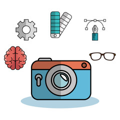 Vintage camera, brain, gear wheel, color palette, pen, lines, anchor points and glasses over white background. Vector illustration.