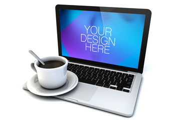 Laptop and Coffee Cup on White Mockup 1
