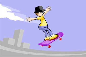 A young teenager on a skateboard