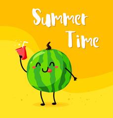 Funny cartoon watermelon with lemonade on the beach. Summer time. Flat style. Vector.