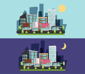 cartoon town, residential buildings, shops and cafes. City flat style. night and day Vector illustration.