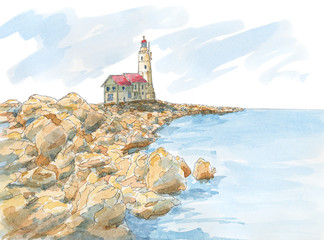 Lighthouse on rocky coast