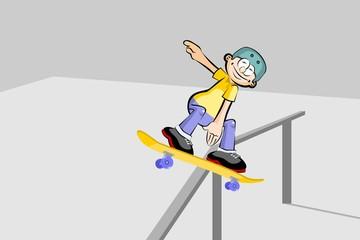Young boy on skateboard