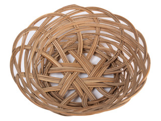 Ancient wicker basket on a white background