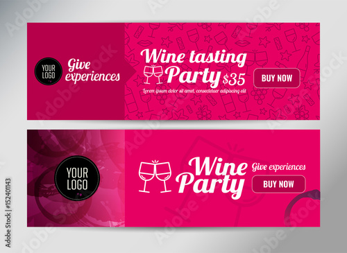 Banner template flyer or gift certificate for wine event or banner template flyer or gift certificate for wine event or promotion vector illustration yelopaper Gallery