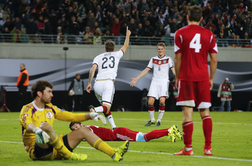 Germany's Kruse celebrates his goal against Georgia during their Euro 2016 Group D qualifying soccer match against Germany in Leipzig