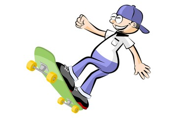 Boy jumping on skateboard - isolated on white