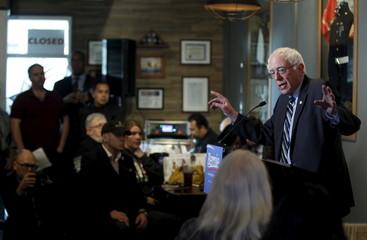 Democratic presidential candidate and U.S. Senator Sanders speaks on veteran issues during a town hall meeting with veterans in Las Vegas