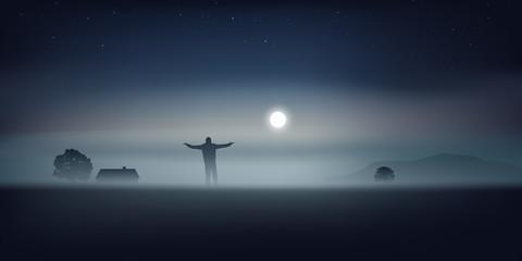 paysage - clair de lune - brume - homme seul -sauvage - maison isolée - nuit