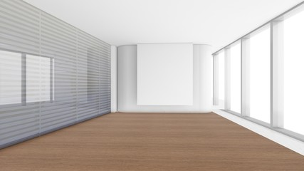 Modern Empty Room, 3d render interior design, mock up illustration