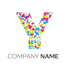 Letter Y logo with blue, yellow, red particles and bubbles dots on white background. Vector template for your design