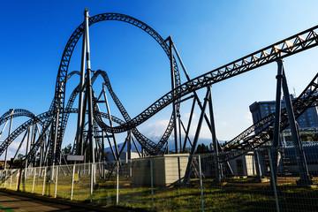 Roller coaster railway against Mt. Fuji