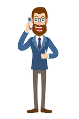Hipster Businessman talking on mobile phone and showing thumb up
