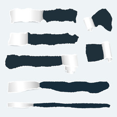 Torn paper with ripped edges set. Realistic holes in paper with damaged sides. Banners template for web design