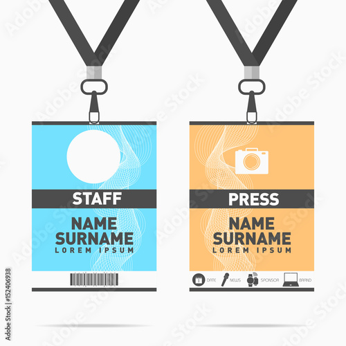 Event staff and press id cards set with lanyards. Vector design for ...