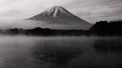 Mt. Fuji from Lake Shoji with mist
