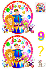 Logic puzzle game for young children. Need to find nine differences. Developing skills for counting. Vector cartoon image.