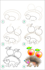 Page shows how to learn step by step to draw a hedgehog. Developing children skills for drawing and coloring. Vector image.