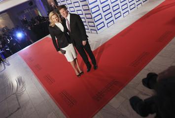 Actress Ferres and her partner Maschmeyer arrive for German media award 2011 ceremony in Baden Baden