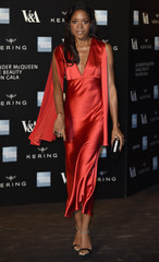 Harris arrives for the Alexander McQueen: Savage Beauty exhibition gala at the Victoria & Albert Museum in London