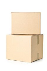 Two corrugated cardboard carton parcels stacked