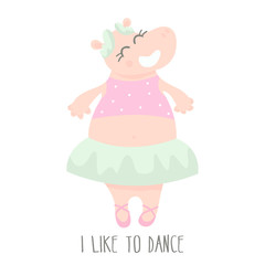 Cute baby hippo ballerina dancing cartoon hand drawn vector illustration. Cartoon Hippo character isolated. Can be used for baby fashion print design, kids wear, poster, greeting and invitation card.