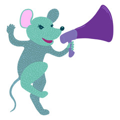 Furry mouse with loudspeaker