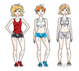 Happy pretty young women standing in stylish sportswear. Vector diversity people illustrations set.