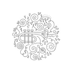 Doodle Trumpet. Jazz festival coloring page. Decorative vector illustration.