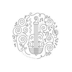 Doodle Violin. Jazz festival coloring page. Decorative vector illustration.