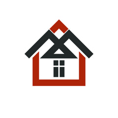 Property developer stylish icon, estate agency corporate symbol. Creative construction icon, vector house. Commercial building and designing theme.