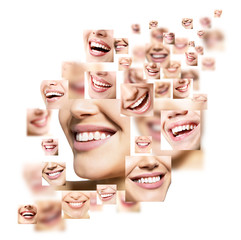 Smiles set. Perfect wide smiles of young people with great healthy white teeth, isolated. Dental care, whitening, stomatology, restoration of teeth, prosthetics, oral hygiene concept.