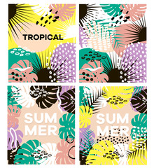 Summer tropical vector cards set with hand drawn textures and palm branch. For seasonal sale,greeting,web banner