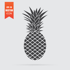 Pineapple icon in flat style isolated on grey background.