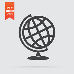 Globe icon in flat style isolated on grey background.