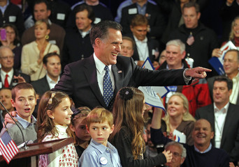 Republican presidential candidate and former Massachusetts Governor Romney speaks at his New Hampshire primary night rally in Manchester