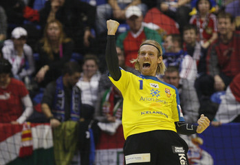 Iceland's goalkeeper Gustavsson reacts during game against Hungary at their Men's European Handball Championship main round match in Novi Sad