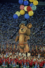 File picture of Olympic mascot Bear Misha seen during the closing ceremony of the Moscow 1980 Summer Olympic Games at the Luzhniki stadium in Moscow