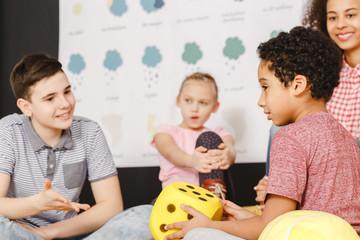 Kids talking in international school