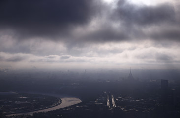 A view from the roof of a tower of the Moscow International Business Centre shows Moscow