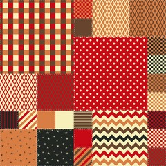 Seamless patchwork pattern in warm colors. Quilt design from colorful square patches.