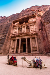 The Treasury, a building carved out of rock in the ancient Petra, Jordan
