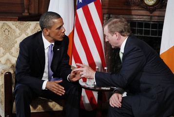 U.S. President Obama talks with Irish Prime Minister Kenny at the Farmleigh in Ireland