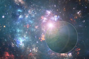 Fantasy alien planet with rising sun