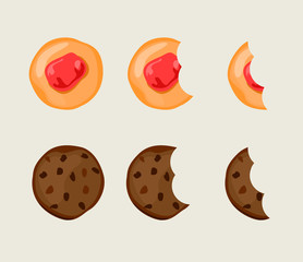 Biscuit cracker in different eating stages