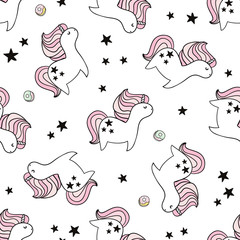 Cute seamless pattern with fairy unicorns and donuts. Childish texture for fabric, textile. Scandinavian style. Vector Illustration
