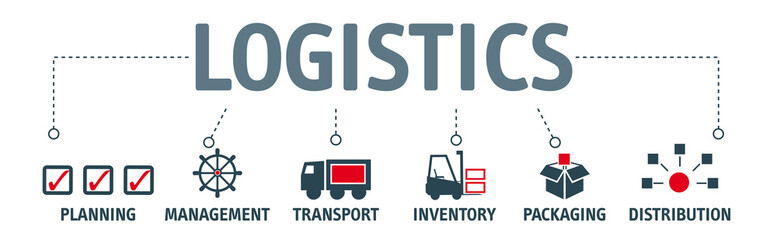 Banner logistics concept english keywords