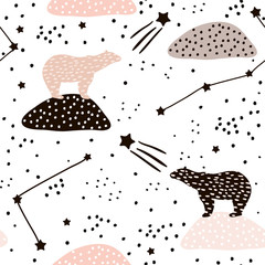 Seamless pattern with polar bears silhouette and Constellations . Perfect for fabric,textile.Vector background